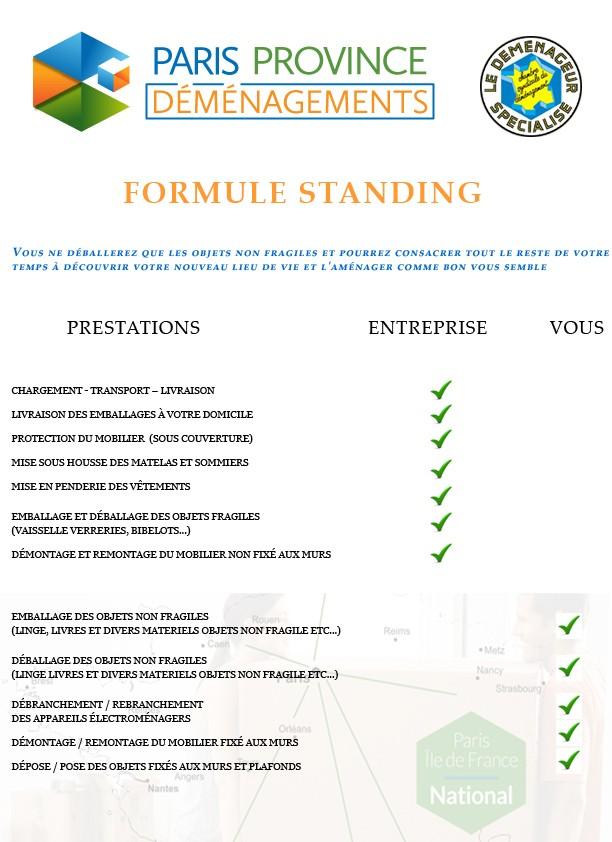 formule standing